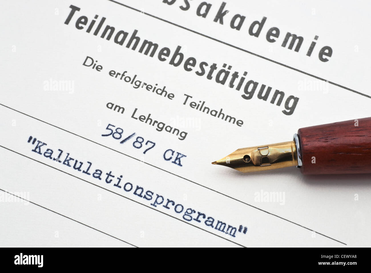 Detail photo of a confirmation of participation in a calculation program course, German language - Stock Image