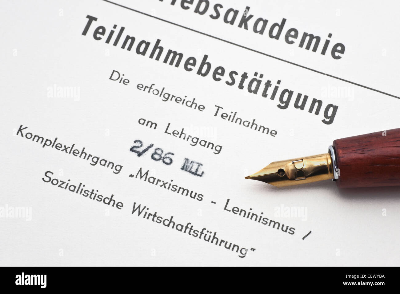 A confirmation of participation in a intricate seminar of Marxism-Leninism and socialist management German language. - Stock Image