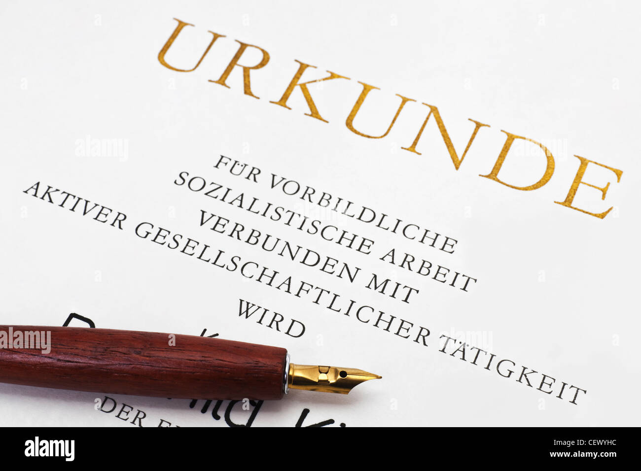 Partial view of a deed activist of the socialist work from GDR - Stock Image