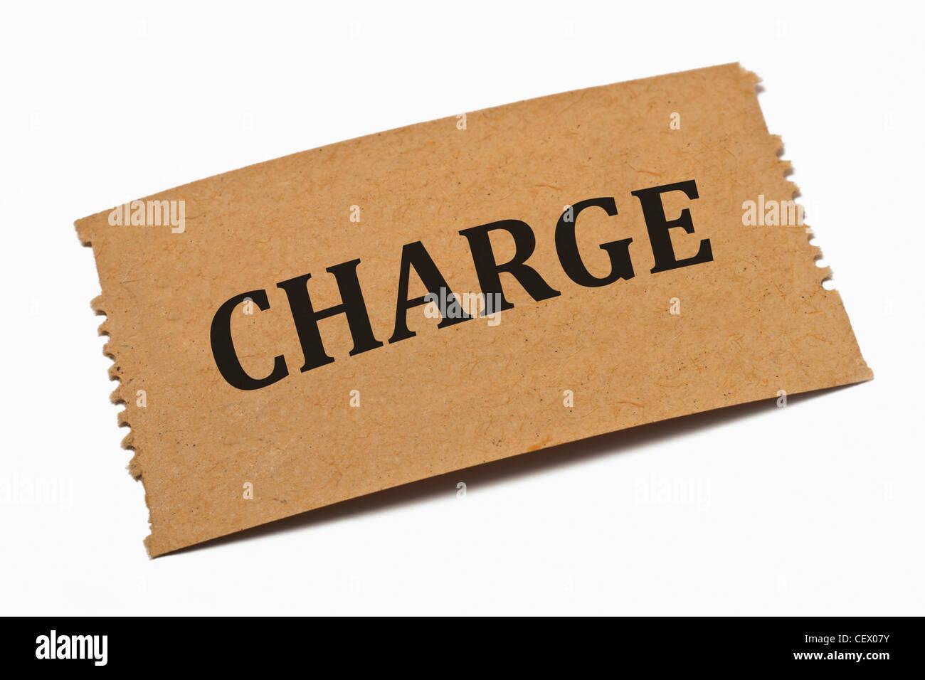 Detailansicht einer Karte aus Papier mit der Aufschrift Charge | Detail photo of a paper card with the inscription - Stock Image