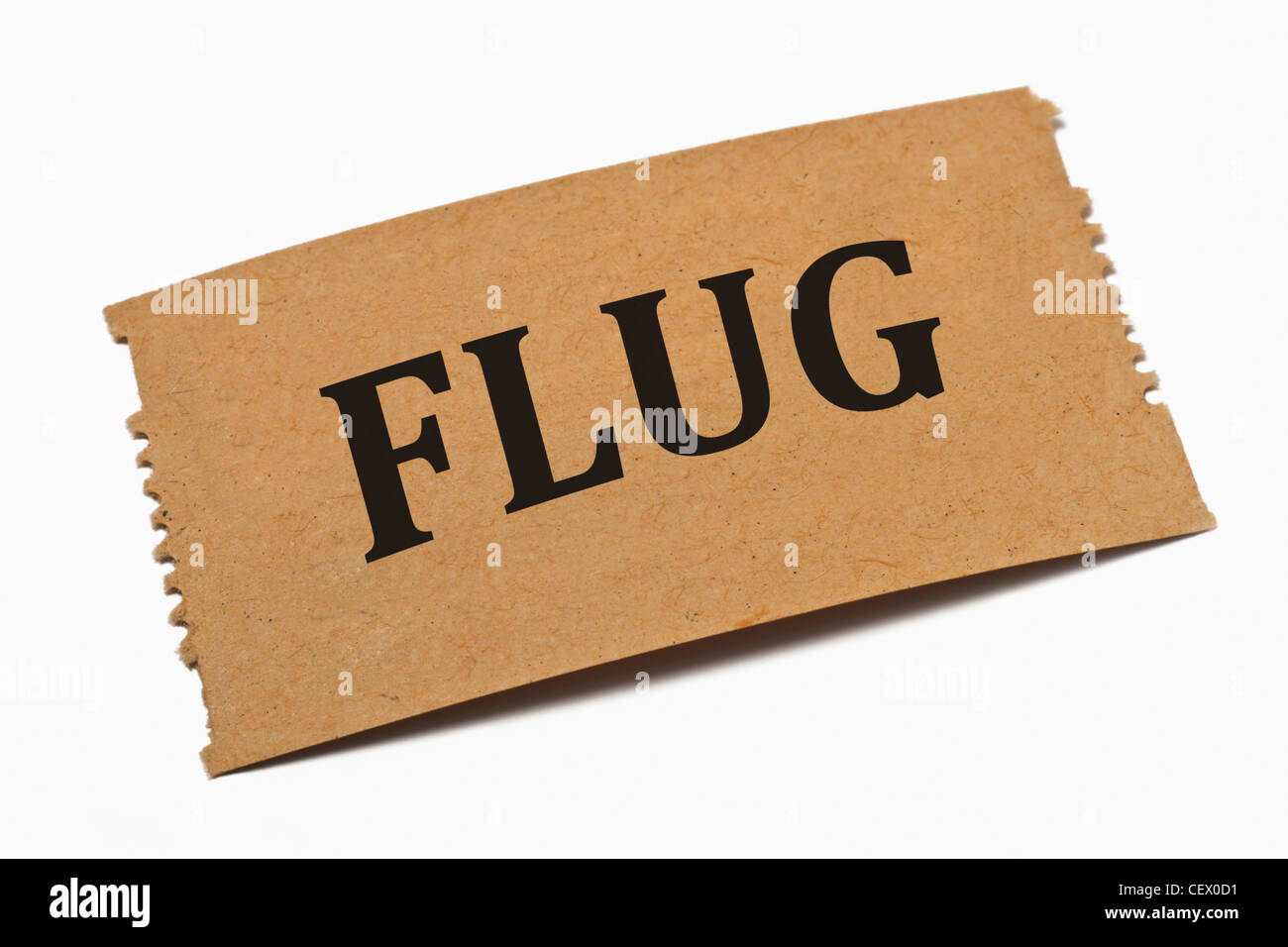 Detailansicht einer Karte aus Papier mit der Aufschrift Flug | Detail photo of a paper card with the inscription - Stock Image