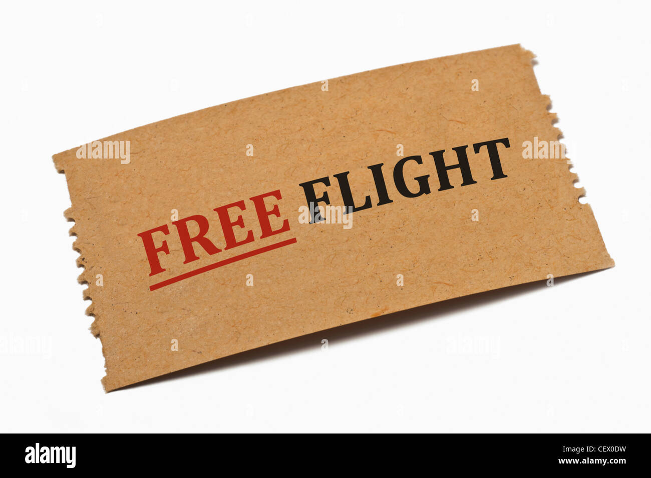 Detail photo of a paper card with the inscription Free Flight - Stock Image