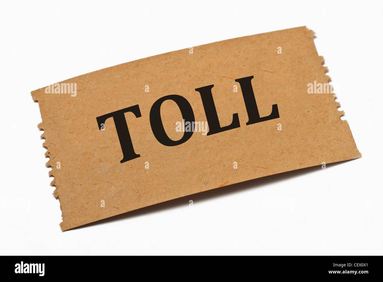 Detailansicht einer Karte aus Papier mit der Aufschrift Toll (Maut) | Detail photo of a paper card with the inscription - Stock Image