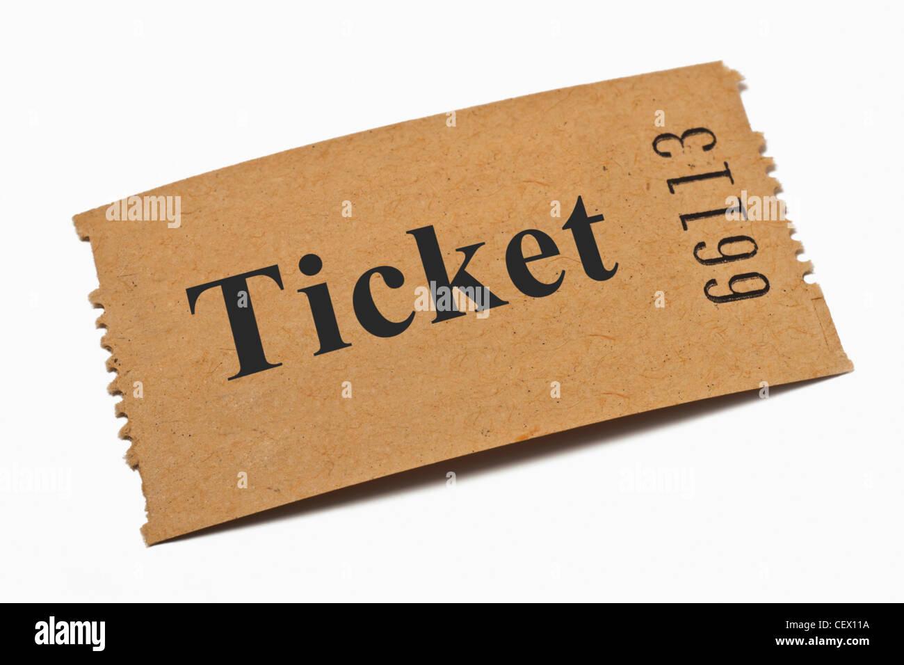 Detailansicht einer Karte aus Papier mit der Aufschrift Ticket | Detail photo of a paper card with the inscription - Stock Image