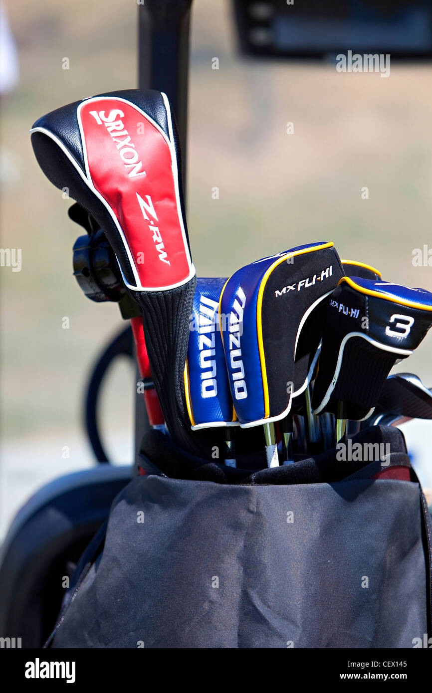Golf clubs in trolley. - Stock Image