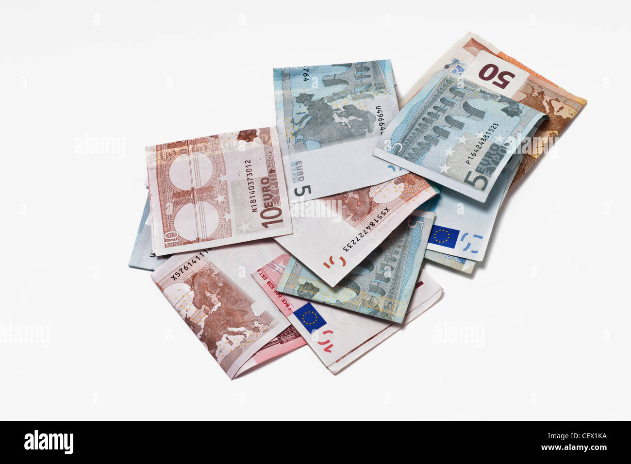 Many Euro bills lying side by side. On January 01st 2002 the Euro was introduced as cash. - Stock Image