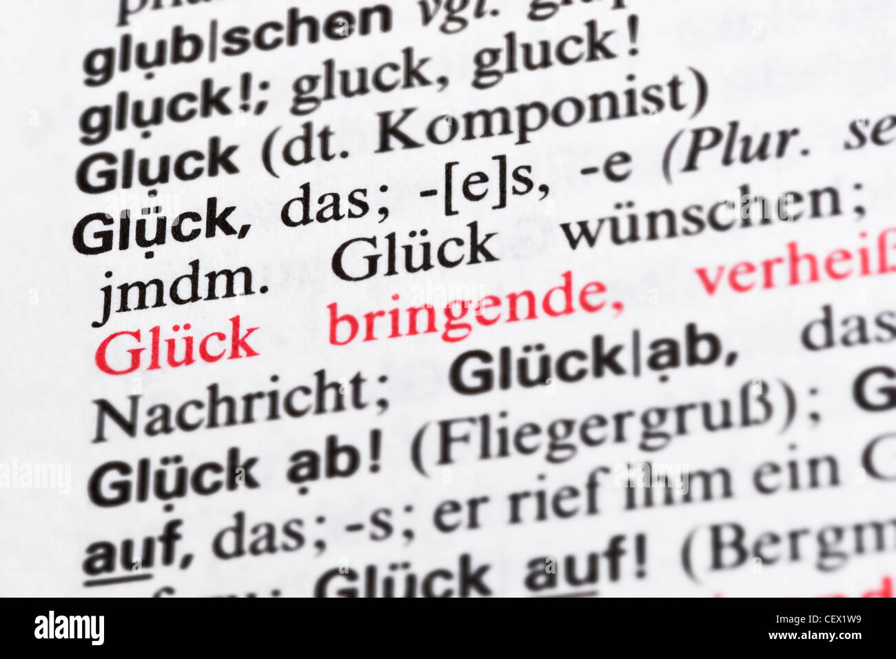 """Detail photo of a German dictionary with the item """"luck"""" in German Stock Photo"""