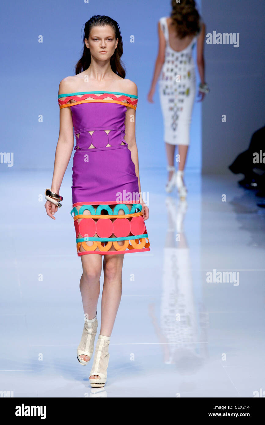 0351f8f8b20d Pucci Milan Ready to Wear Spring Summer Off the shoulder purple dress cut  away detail
