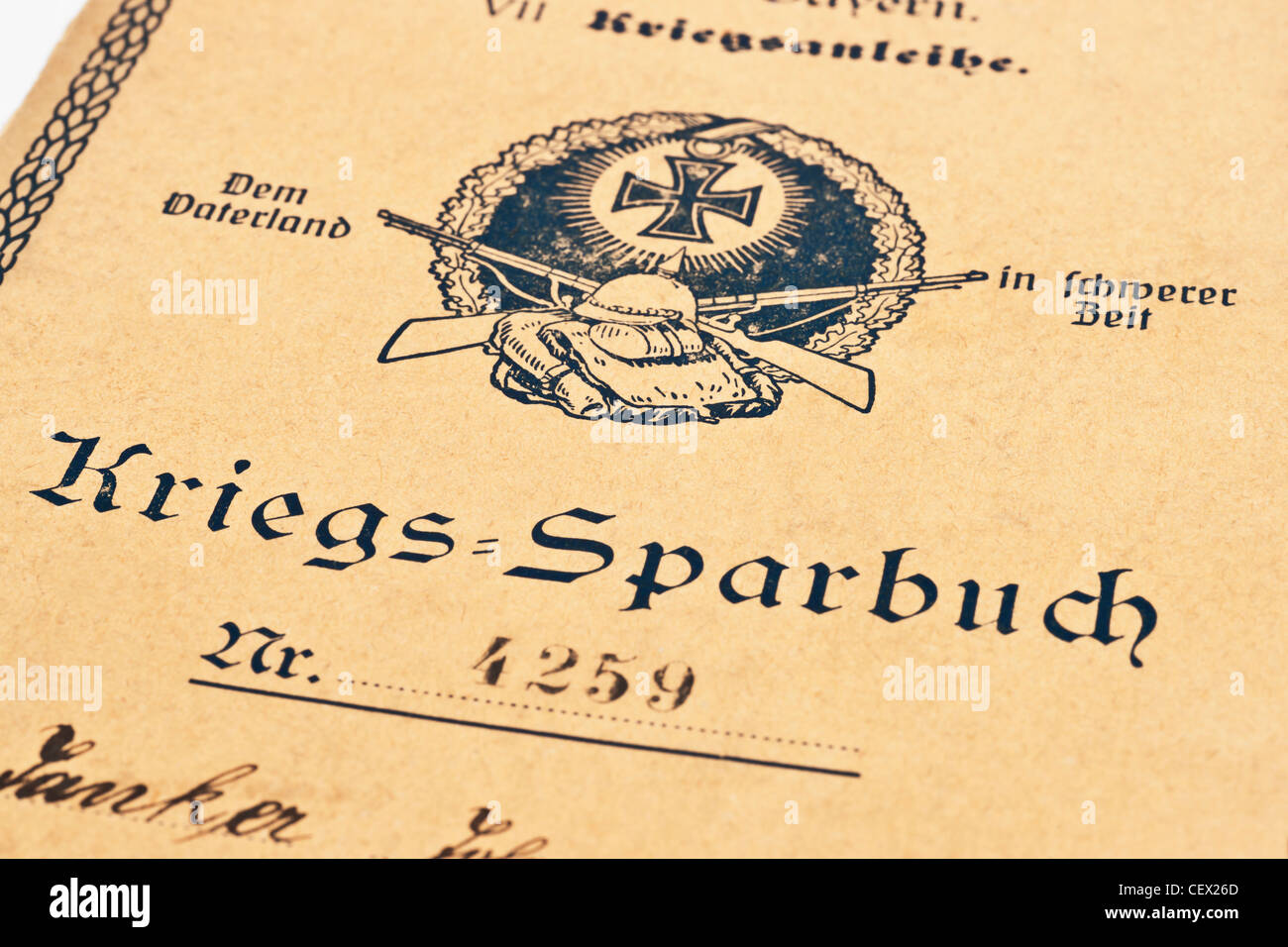 War bank book from the German Reich from the year 1918, Germany, Europe - Stock Image