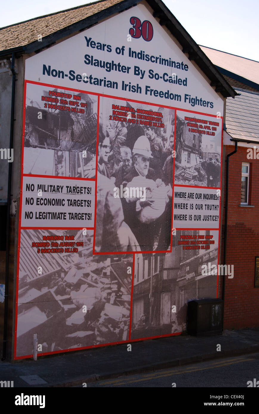 Mural made from photo panels belfast number 3035 - Stock Image