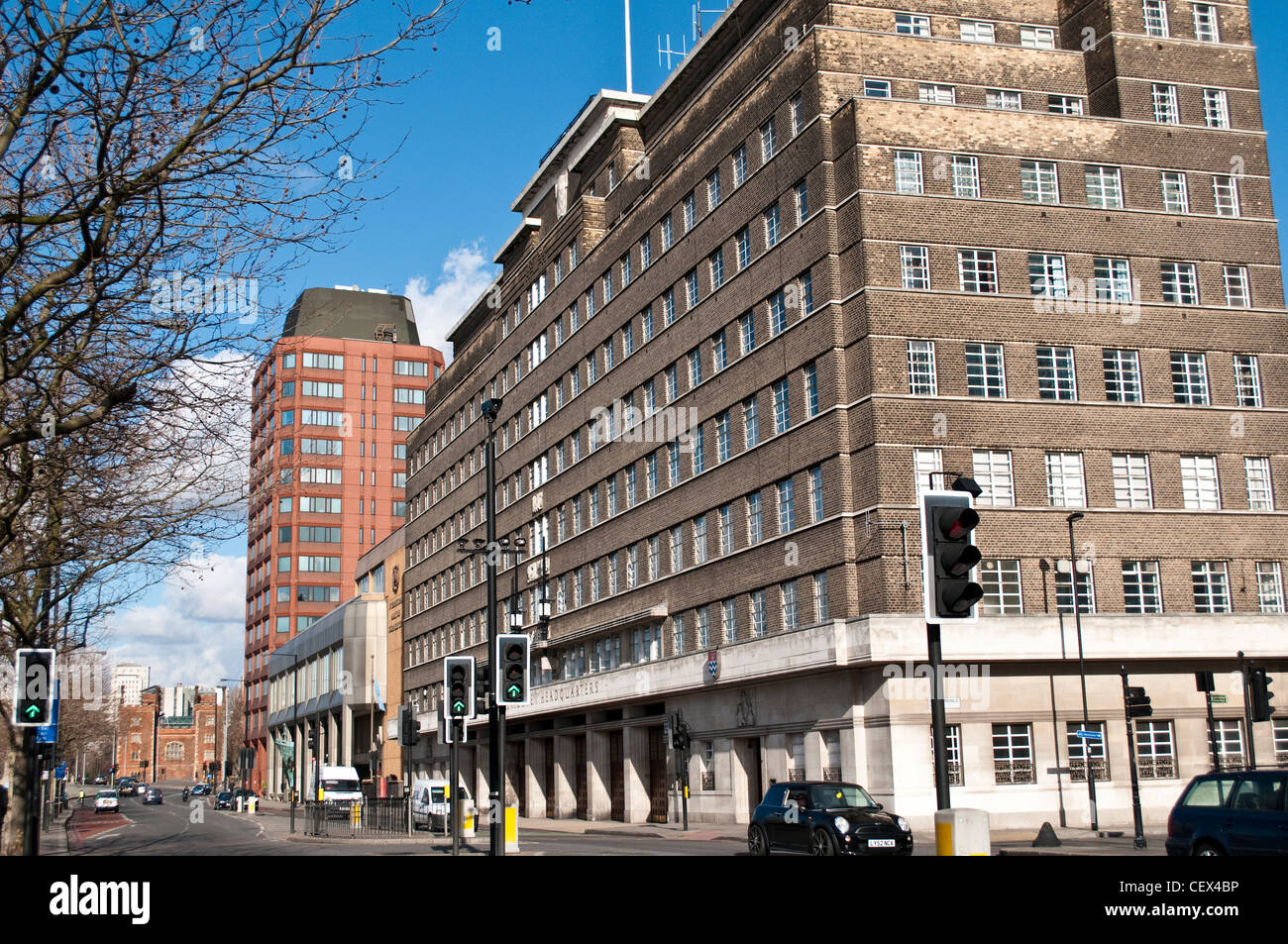 London Fire Brigade headquarters on Albert Embankment, Lambeth, London, UK - Stock Image