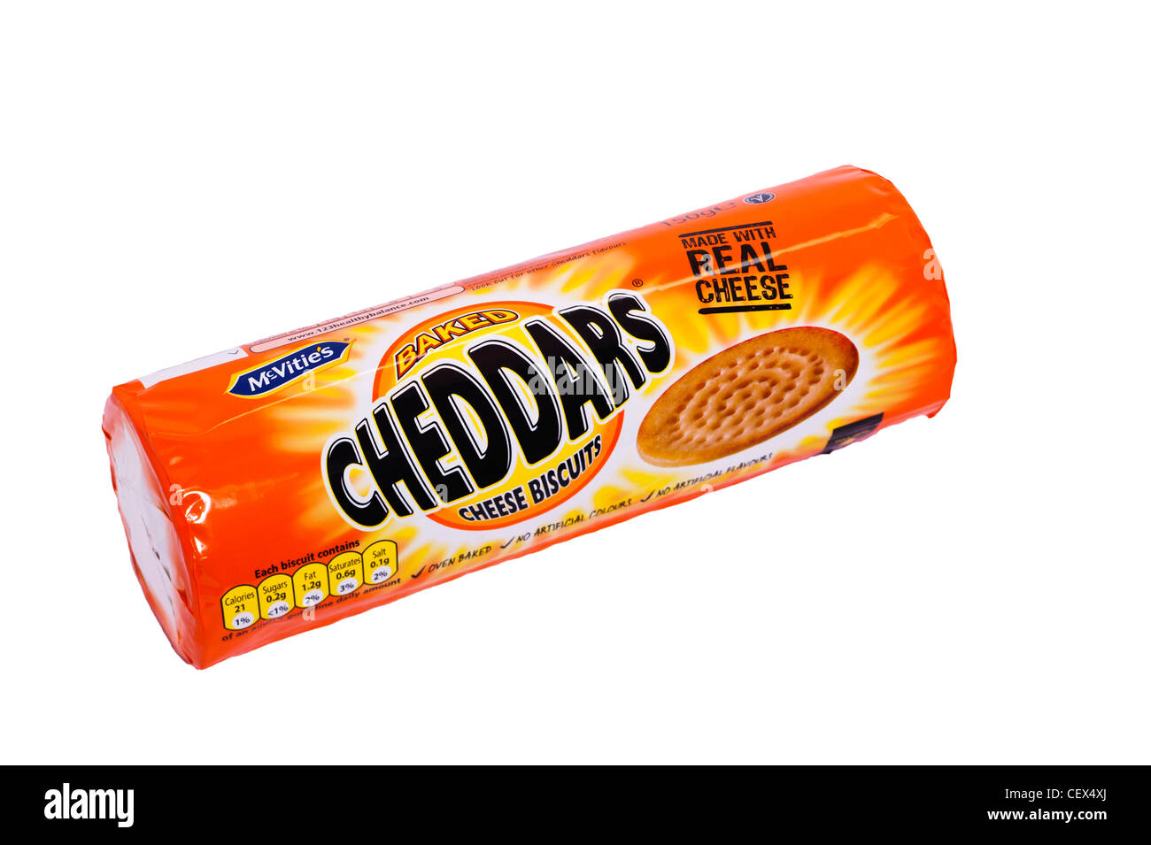 a packet of mcvitie s cheddars cheese biscuits on a white background