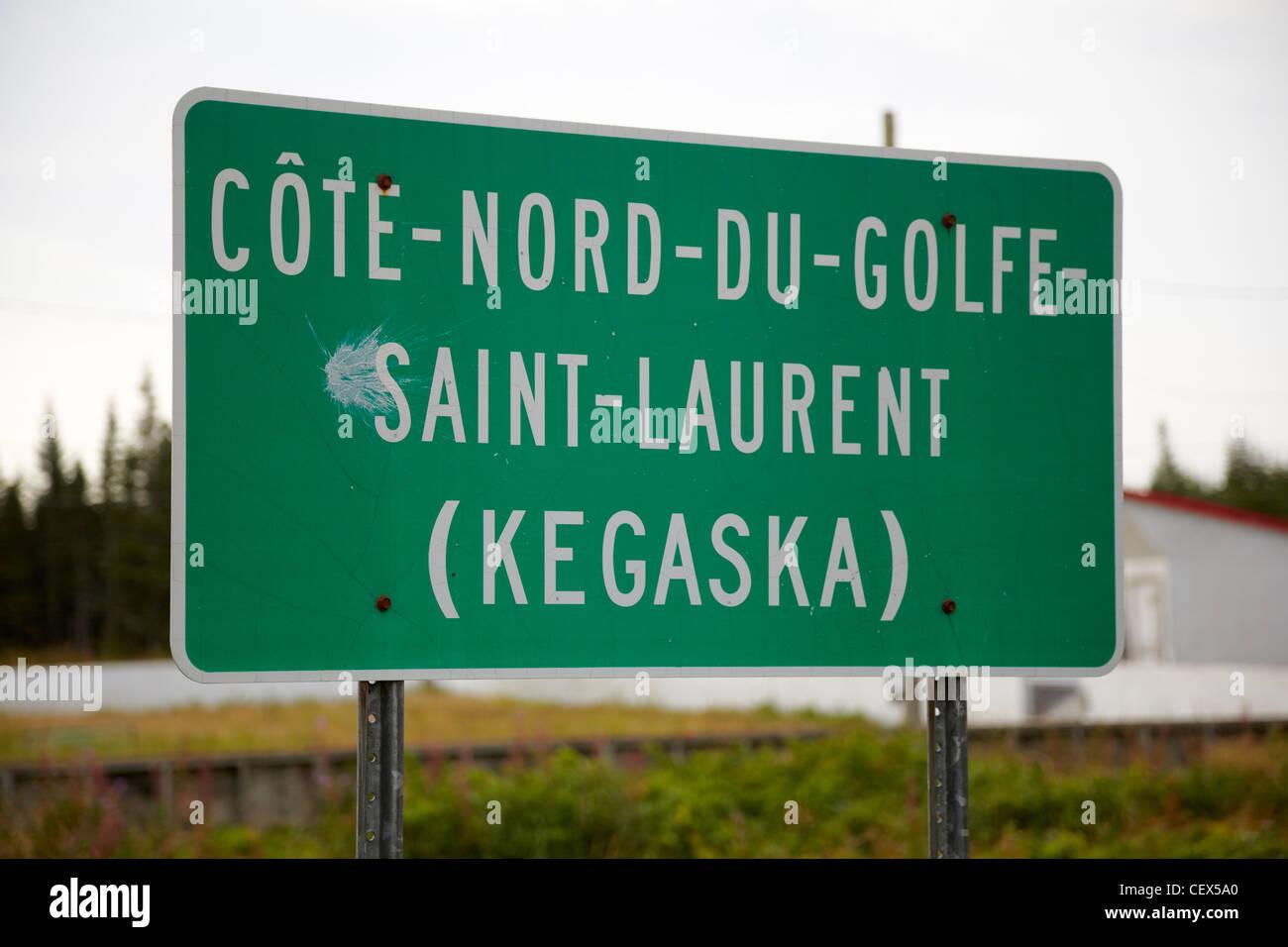 Cote-Nord-Du-Golfe-Saint-Laurent, Kegaska road sign, Quebec, Canada - Stock Image