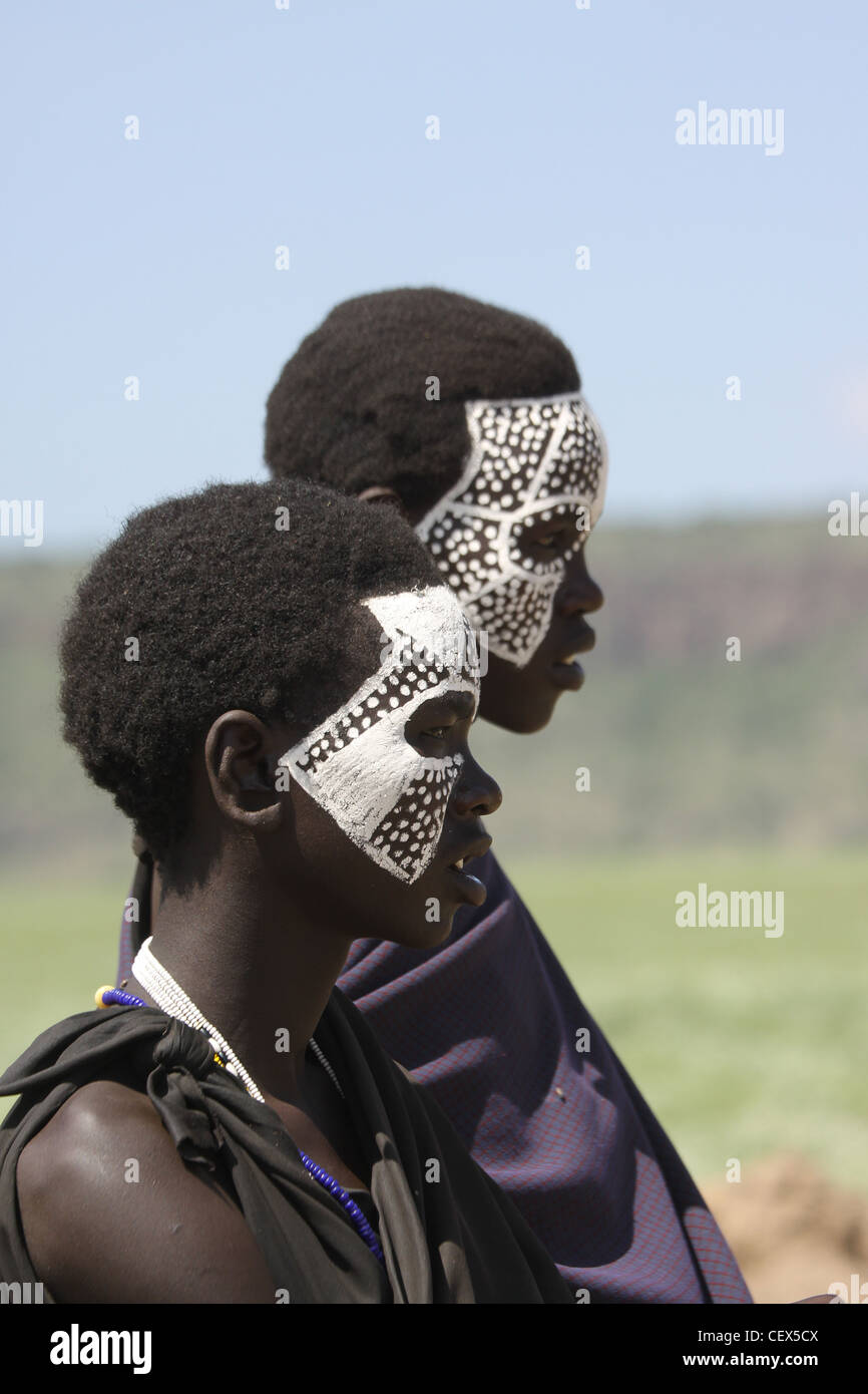 Tanzania, Masai coming of age ceremony. This young male members are being initiated as warriors 'Moran'. - Stock Image