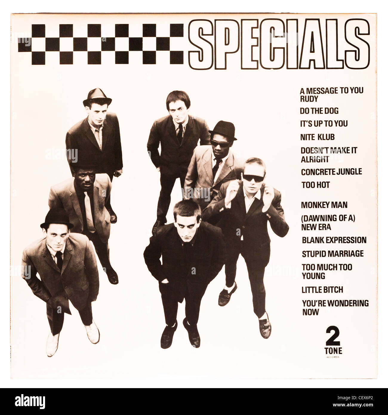 A vinyl album record , The Specials , on a white background Stock Photo