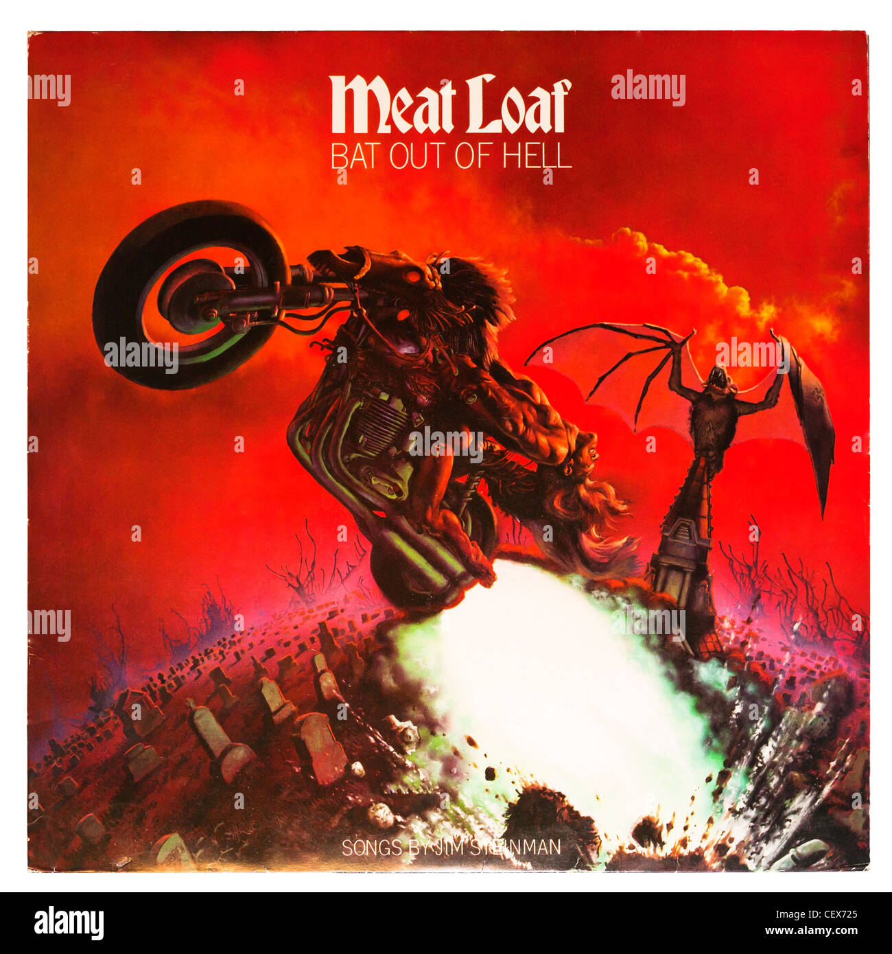 A vinyl album record , Meat Loaf , Bat out of Hell on a white background - Stock Image