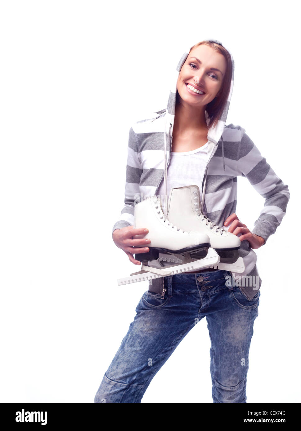 young woman going to ice skate - Stock Image