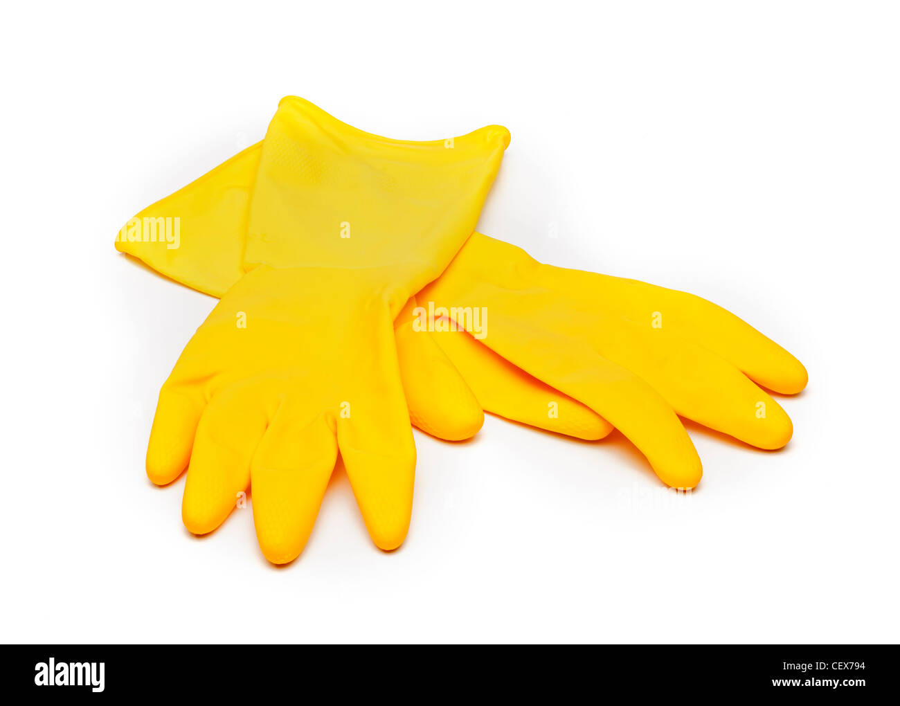 Rubber marigold gloves - Stock Image