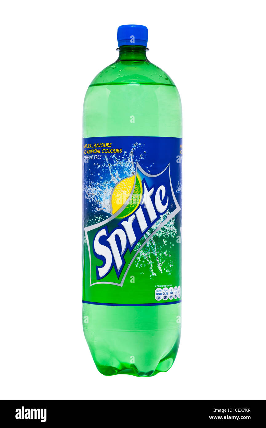 A bottle of Sprite fizzy drink on a white background - Stock Image