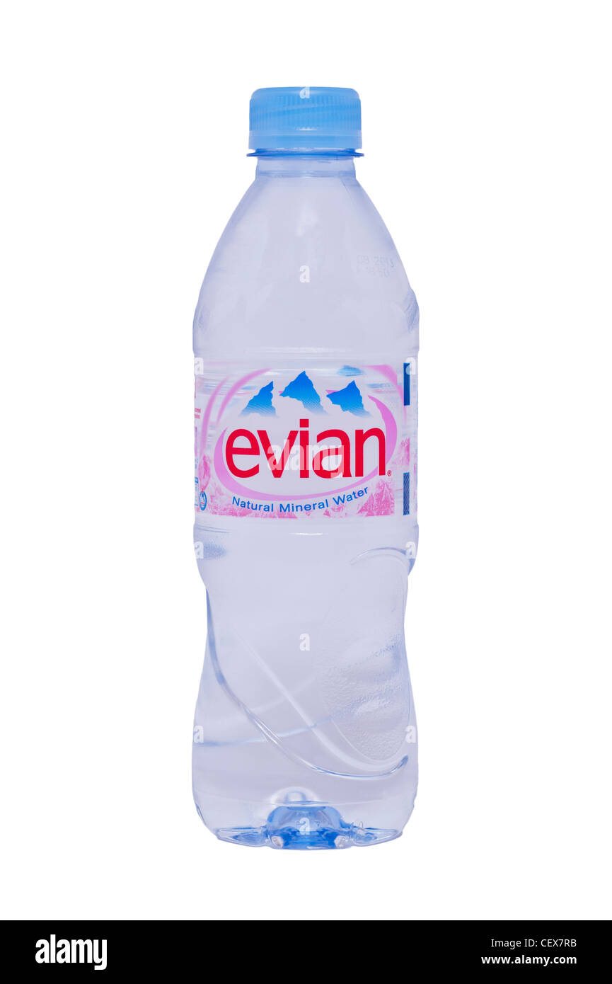 A bottle of evian natural mineral water on a white background - Stock Image