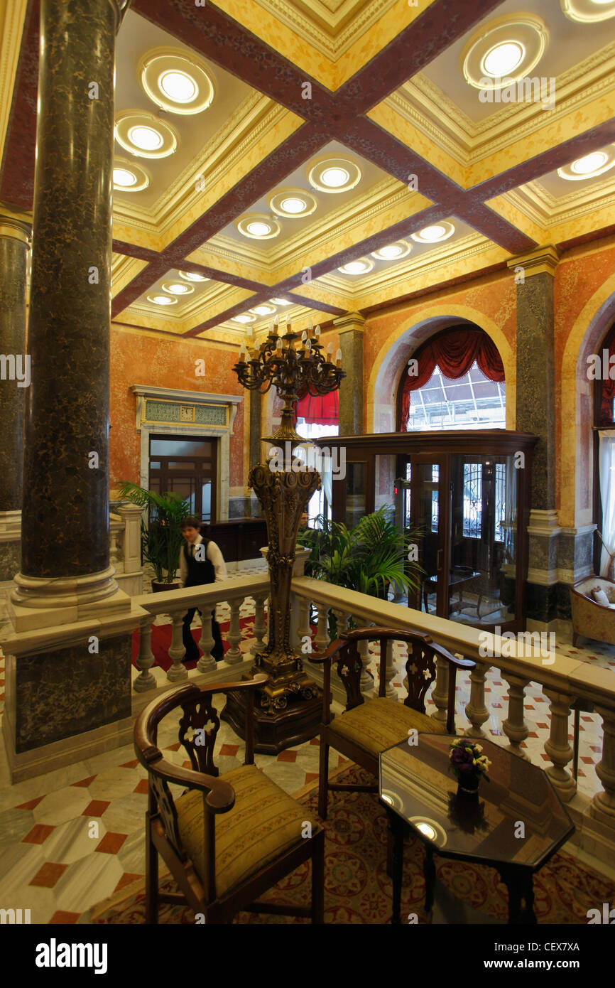 Turkey; Istanbul; Pera Palace Hotel, lobby, - Stock Image