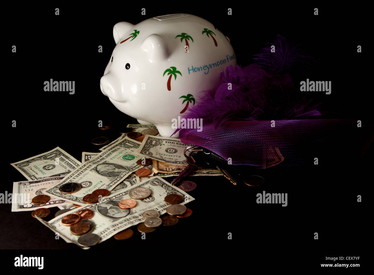 Honeymoon Piggy Bank with cash on a black background Stock Photo