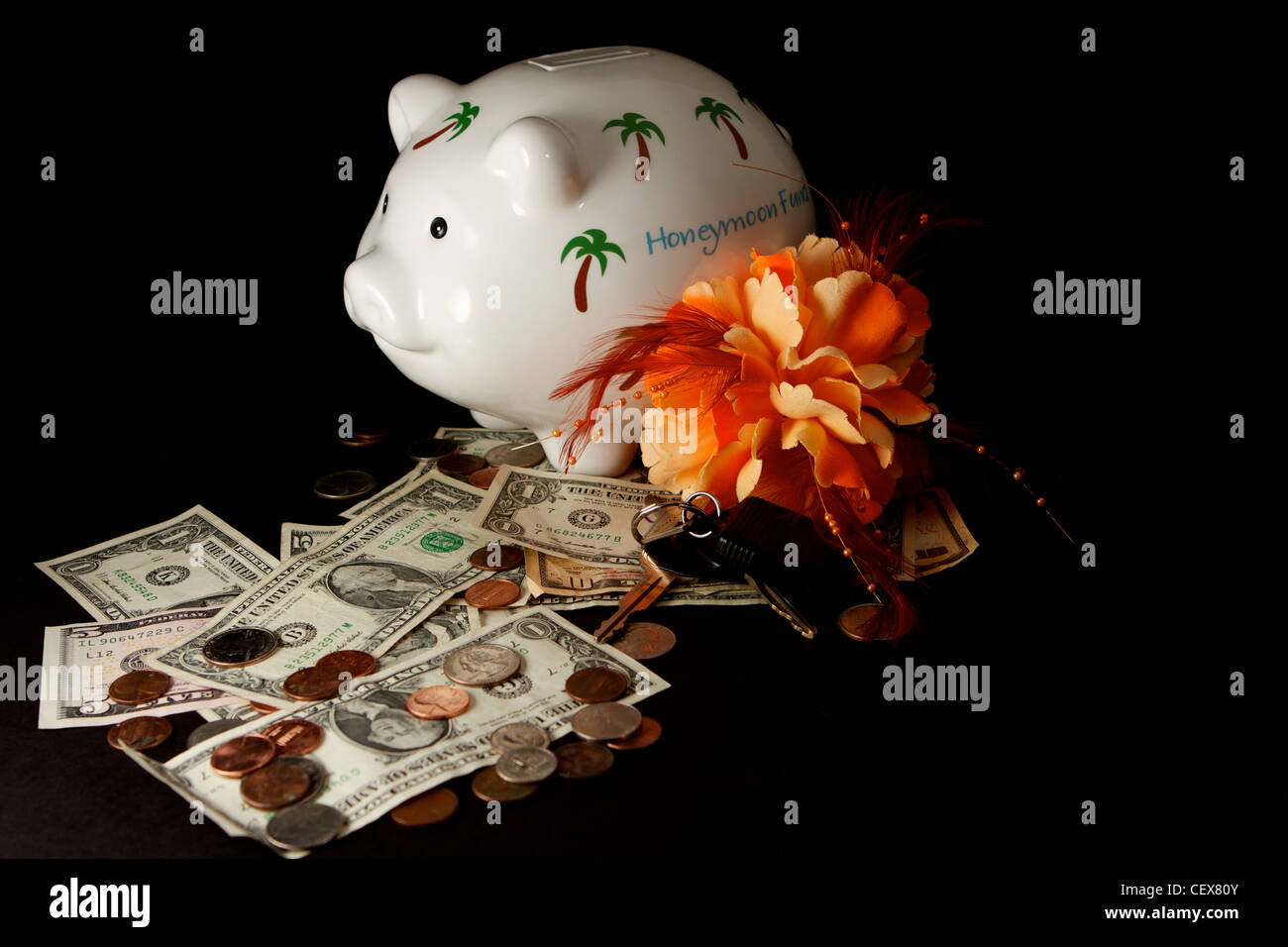 Honeymoon savings Piggy Bank with cash on a black background Stock Photo