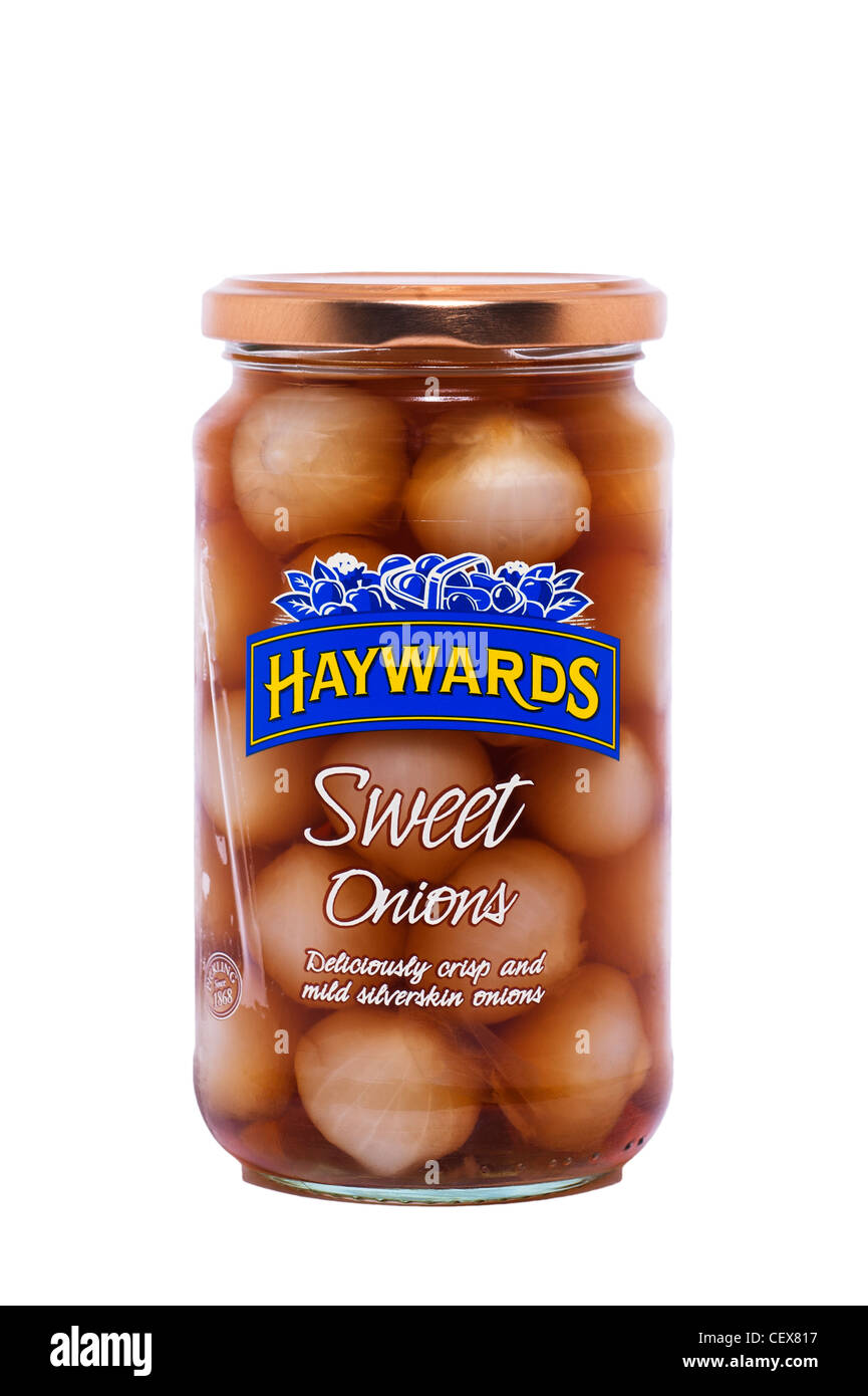 A jar of Haywards sweet pickled onions on a white background - Stock Image