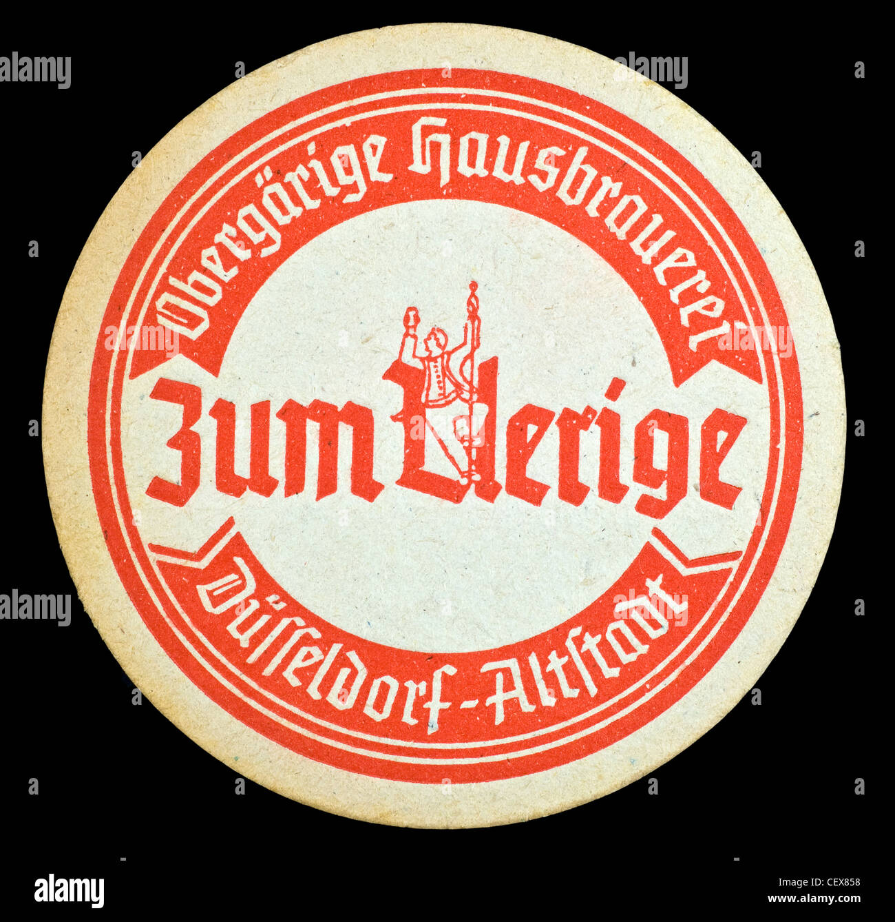 Uerige beer mat from Düsseldorf, Germany. Stock Photo