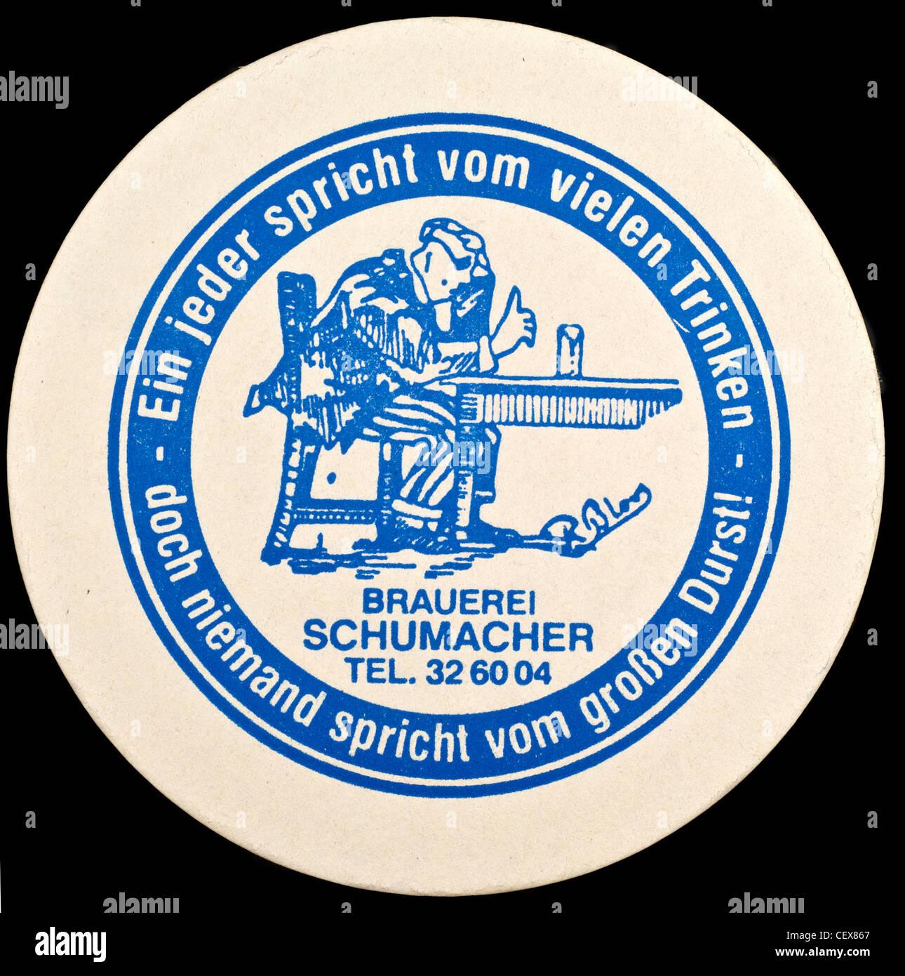 Schumacher Alt Beer mat,  Düsseldorf, Germany. Stock Photo