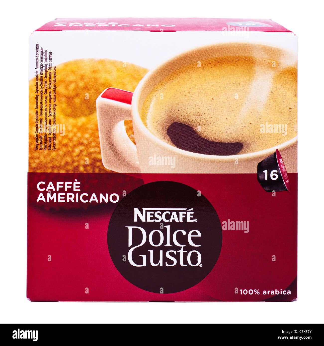 A box of Nescafe Dolce Gusto cafe americano coffee pods for a drinks machine on a white background - Stock Image