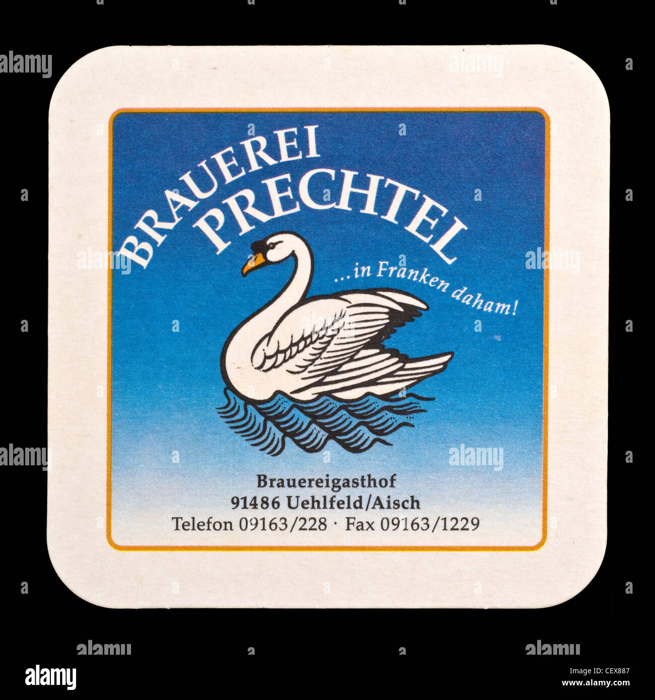 Beer mat from Prechtel Brewery, Franconia, Bavaria, Germany. Stock Photo