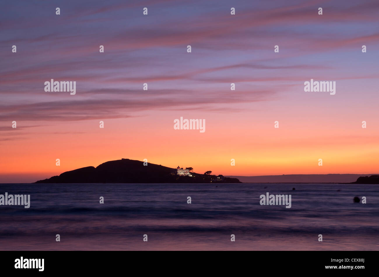 Sunset at Burgh Island from Bantham Beach, Devon, England. - Stock Image
