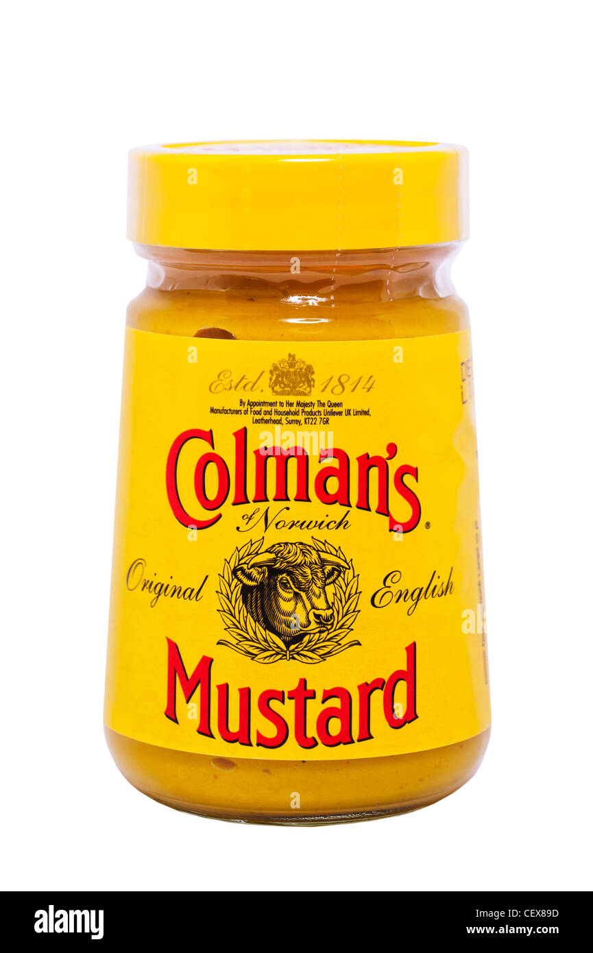 A jar of Colman's Original English Mustard on a white background - Stock Image