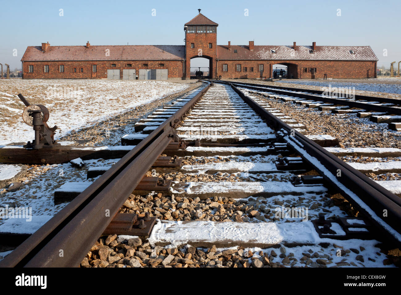 Birkenau Auschwitz concentration camp in Poland - Stock Image