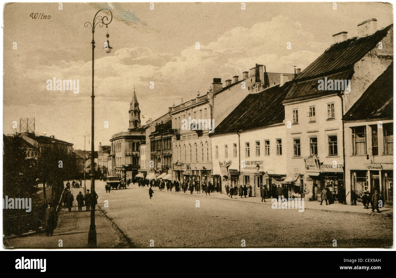 LITHUANIA - CIRCA 1929: Antique postcard printed in Polland shows Street Wielka in Vilno, now Vilnius, Lithuania, - Stock Image