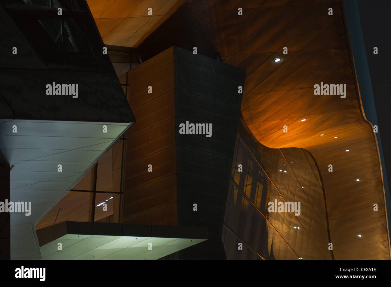 BMW Welt (World) building at night, Munich, Germany. - Stock Image