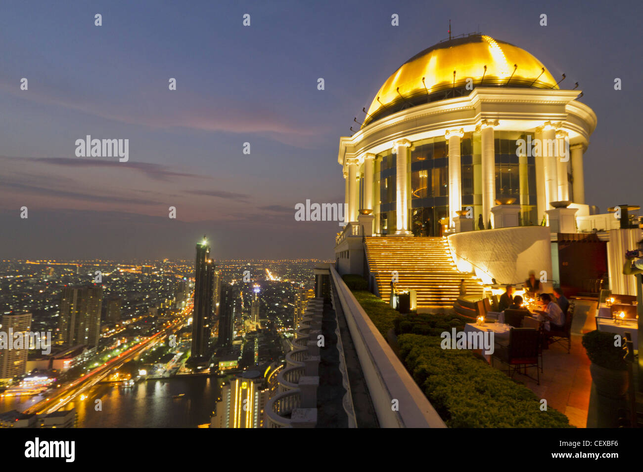 Scirocco Sky Bar at Lebua State Tower in Bangkok , Thailand Stock Photo