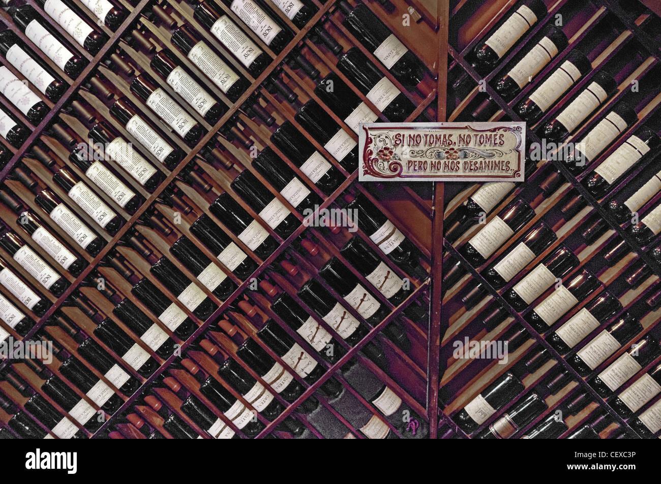 Wine in La Brigada, Parilla Steak House, San Telmo, Buenos Aires, Argentina - Stock Image