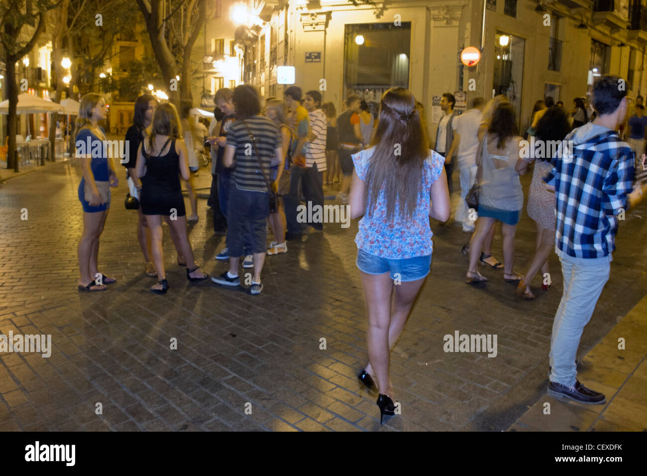 Nightlife people in El Carmen, young people on the street, Valencia, Spain - Stock Image