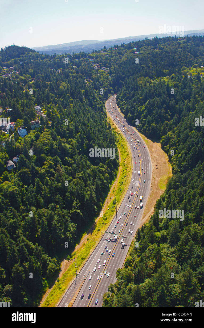 an aerial image of a highway; portland, oregon, united states of america - Stock Image