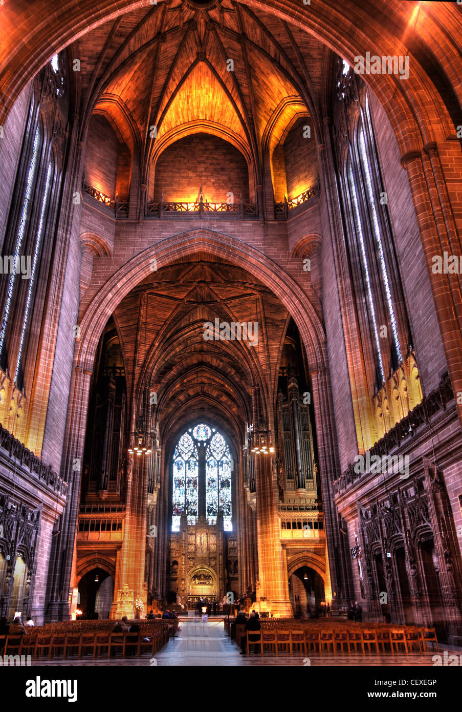 Liverpool Anglican Cathedral interior looking west, North West England, UK  L1 7BY - Stock Image