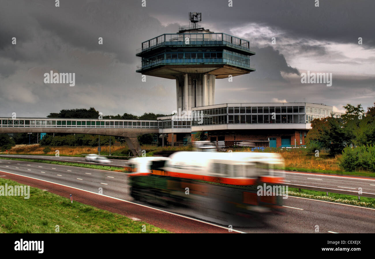 M6 Motorway, Lancaster Moto Services iconic Tower - Stock Image