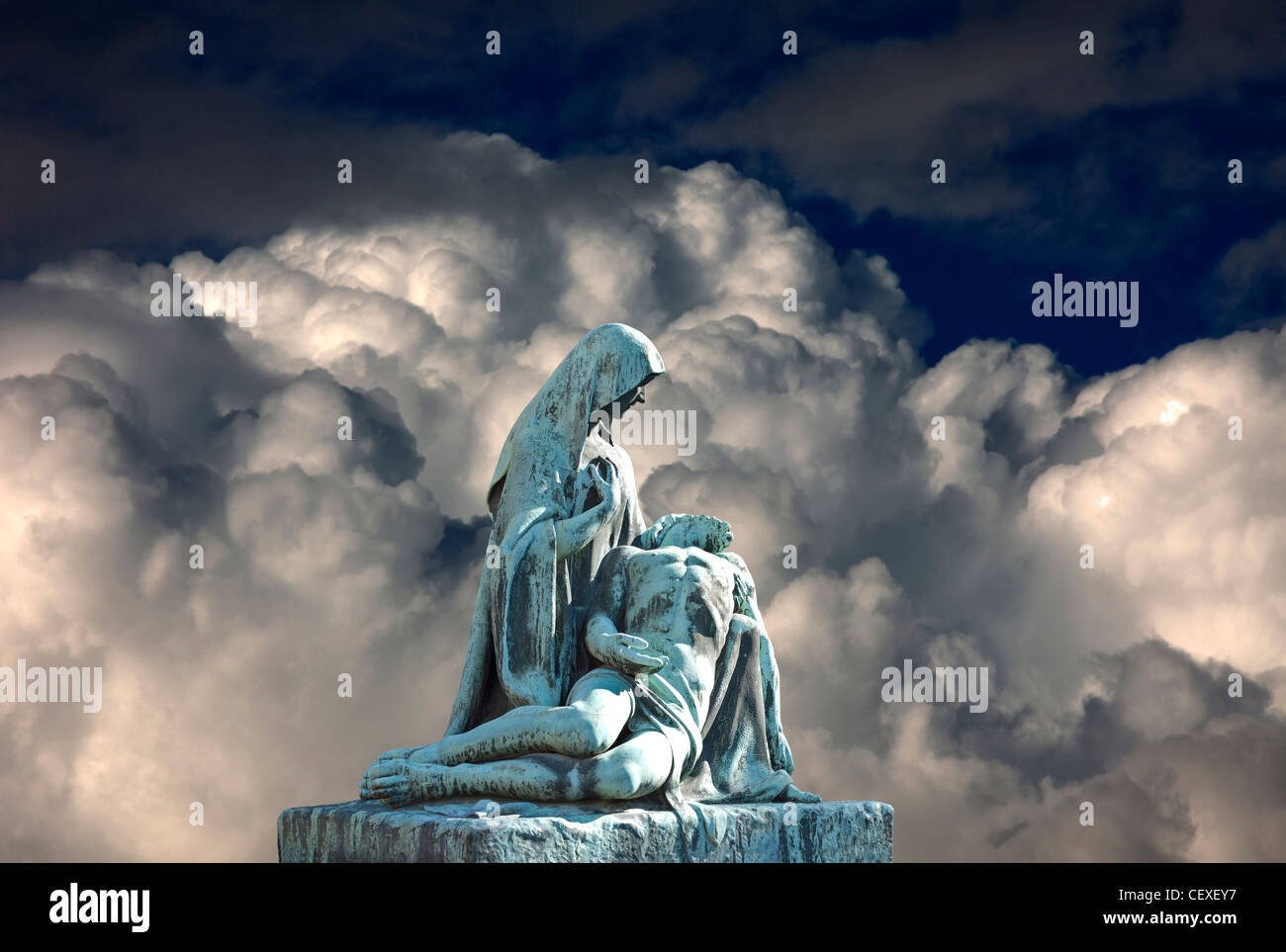 Grave scene with Virgin Mary and death Jesus Christ. Religious art. - Stock Image