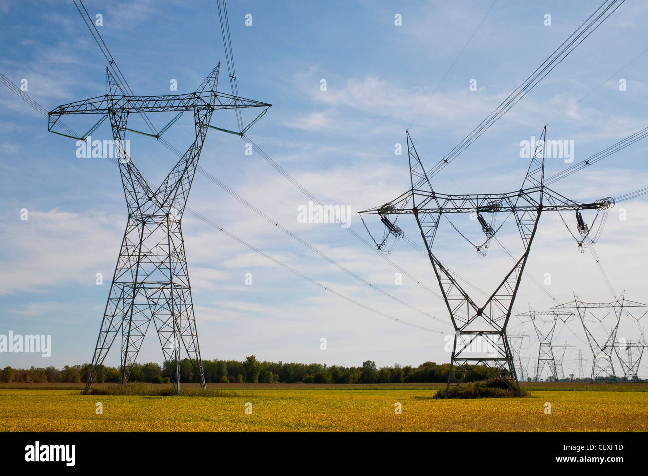 power transmission towers and lines; boucherville, quebec, canada - Stock Image