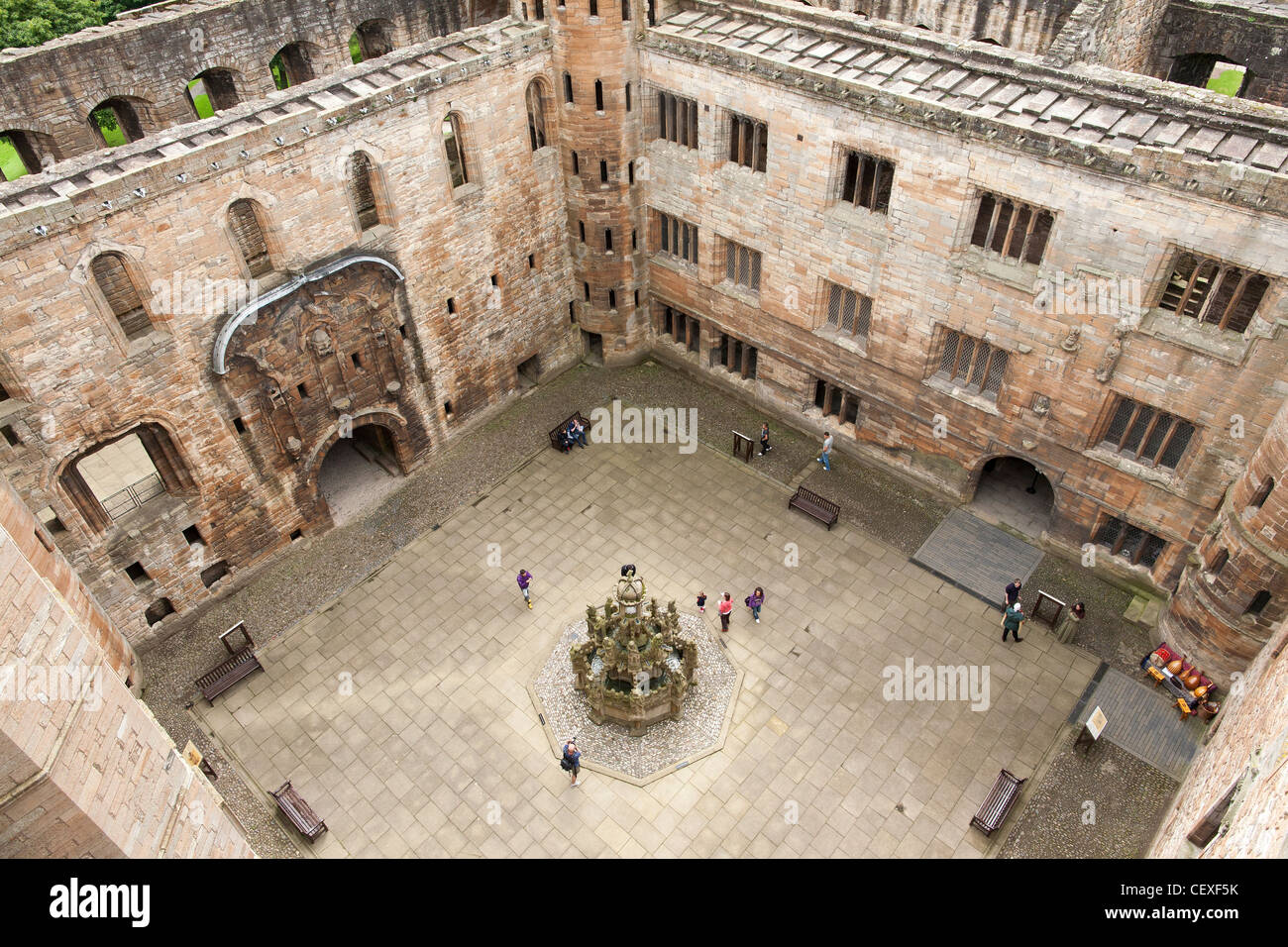 A view from above into the courtyard of the ruins of Linlithgow Palace in Scotland. The palace was home to kings Stock Photo