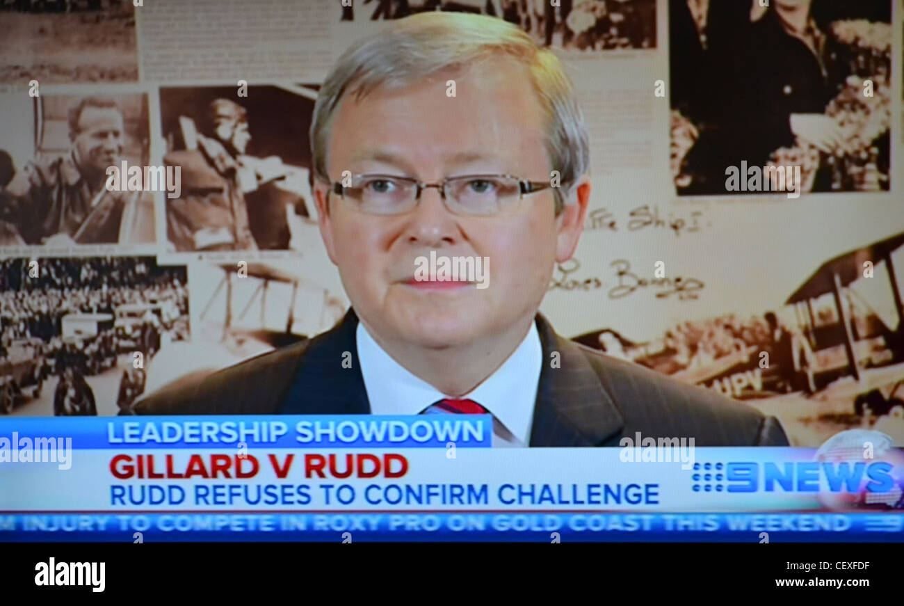 Kevin Rudd Challenges Julia Gillard for the leadership of the labor party. Australian Politics - Stock Image