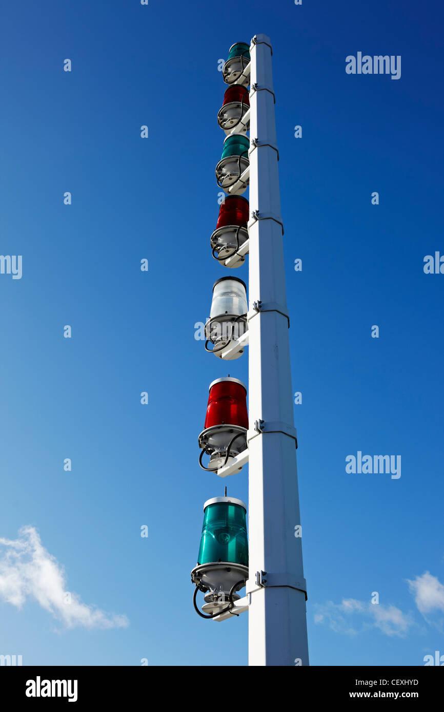 Navigation Lights at Cardiff Barrage, Cardiff Bay, Wales, UK - Stock Image
