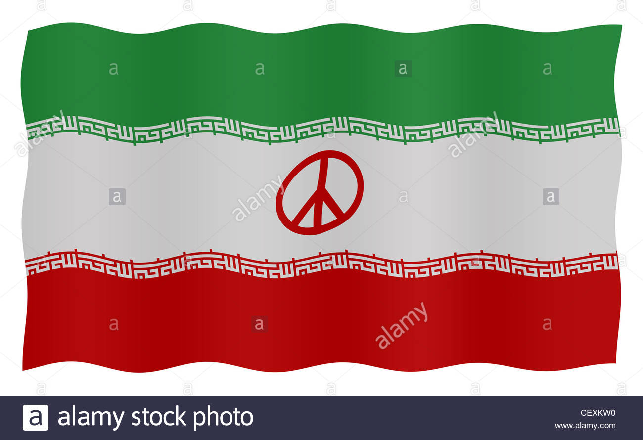 Digital composite - flag of Iran with peace symbol Stock Photo