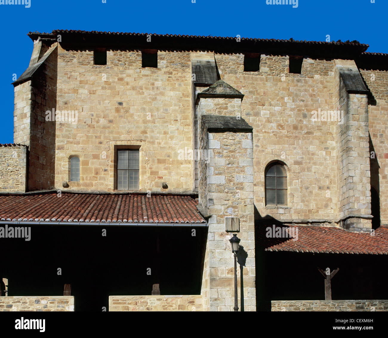 Spain. Collegiate Church of Cenarruza. 14th -15th centuries. Exterior. Basque Country. - Stock Image
